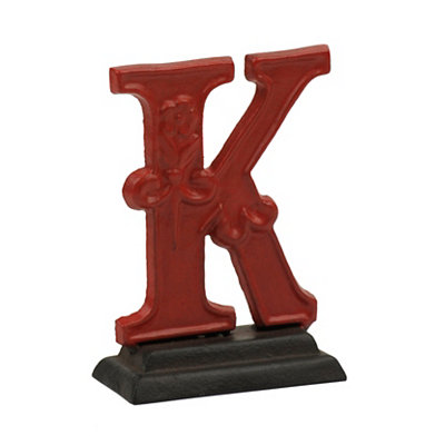 Red Monogram K Cast Iron Statue