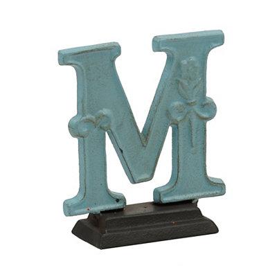 Blue Monogram M Cast Iron Statue