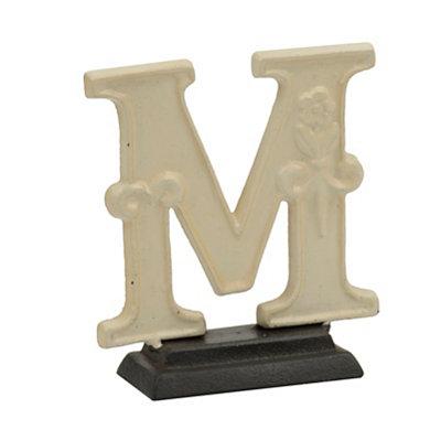Cream Monogram M Cast Iron Statue