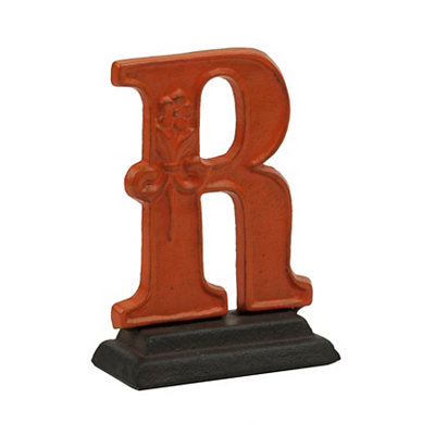 Orange Monogram R Cast Iron Statue
