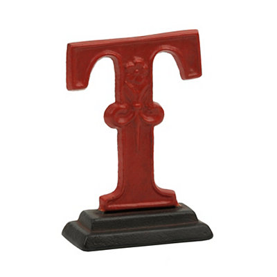 Red Monogram T Cast Iron Statue