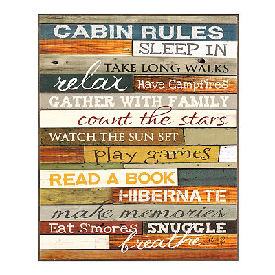 Cabin Rules Wooden Sign