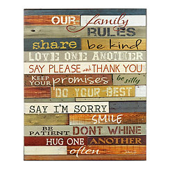 Our Family Rules Wooden Sign