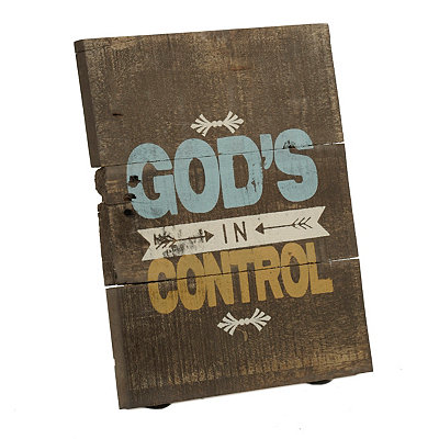 God's In Control Wooden Plaque