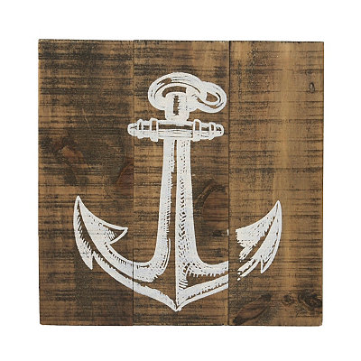 Distressed White Anchor Wooden Plaque