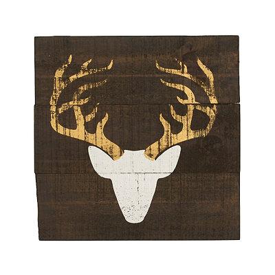 Distressed White Deer Head Wooden Plaque