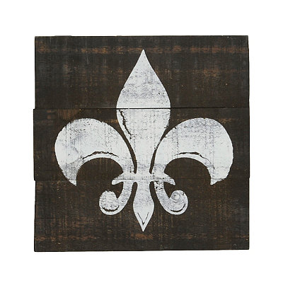 Distressed White Fleur-de-Lis Wooden Plaque