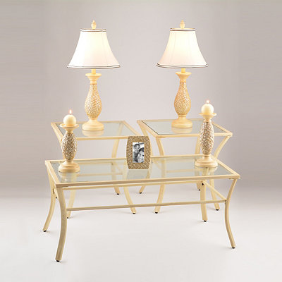 Vintage Cream Accent Tables & Accessories Set
