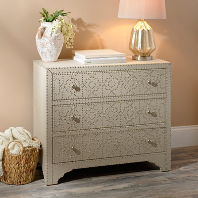 Beige Linen Upholstered Chest