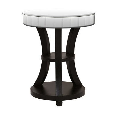 Round Espresso Mirrored End Table