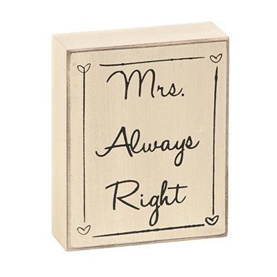 Mrs. Always Right Word Block