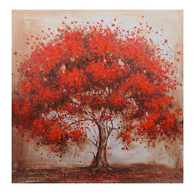 Red Blooming Tree Canvas Art Print