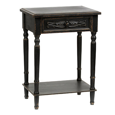 Brooke Distressed Black Accent Table