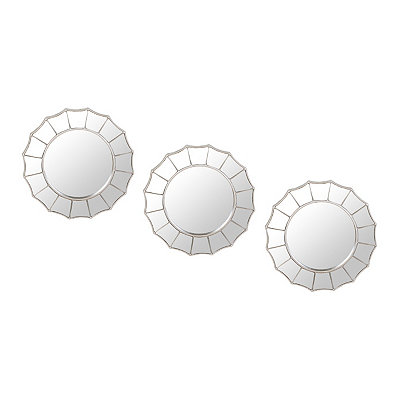 Silver Scalloped Decorative Mirrors, Set of 3