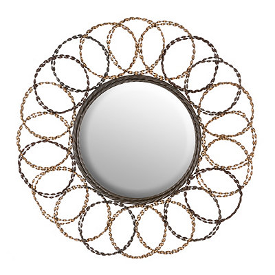 Black & Gold Circles Decorative Mirror, 28.5 in.