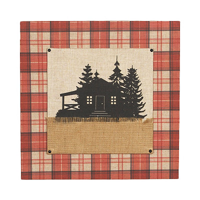 Cabin Plaid Canvas Plaque