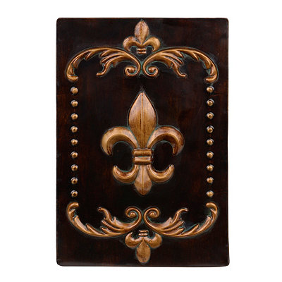 Brown & Gold Fleur-de-Lis Metal Plaque