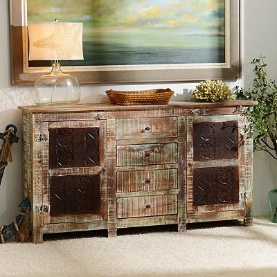 Rustic Carved Panel Cabinet