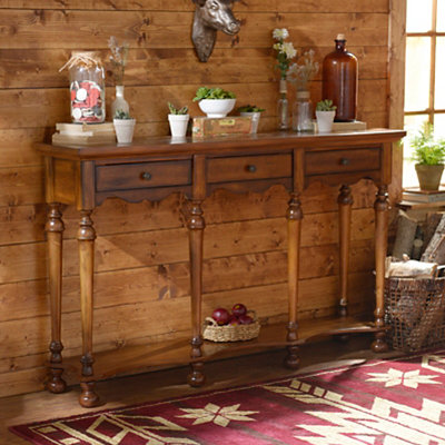 Brown Etched Console Table