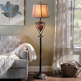 Ribbed Pendant Floor Lamp