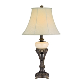 Ornate Bronze and Ivory Table Lamp