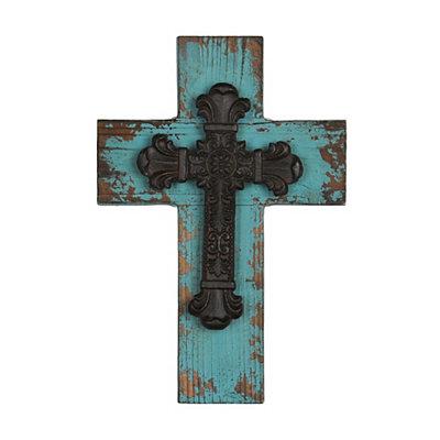 Distressed Blue Wooden Cross Plaque
