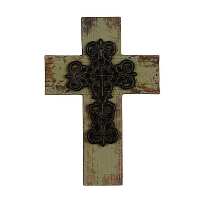 Distressed Green Wooden Cross Plaque