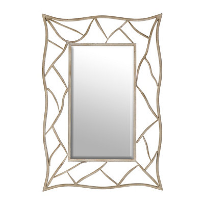 Boulder Distressed White Framed Mirror, 28x41