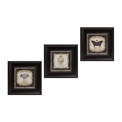 Vintage Bath Framed Art Prints, Set of 3