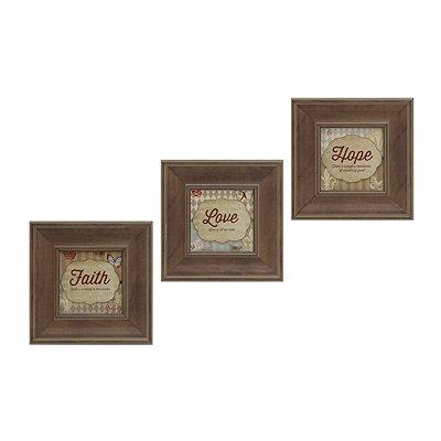 Faith, Hope, Love Framed Art Prints, Set of 3