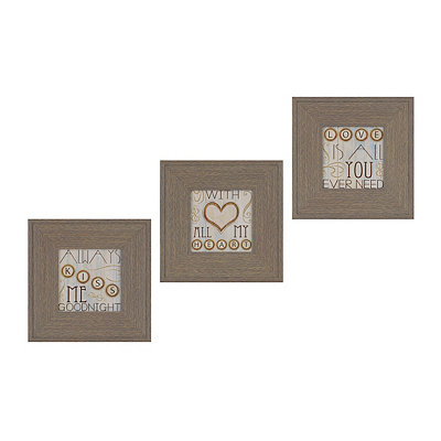 With All My Heart Framed Art Prints, Set of 3