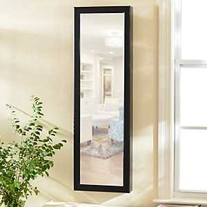 Black Wood Over-the-Door Jewelry Armoire Mirror