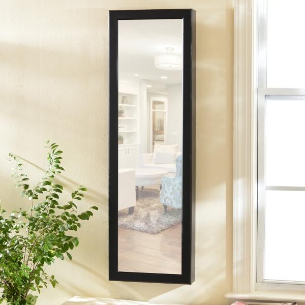 Black Wood Over The Door Jewelry Armoire Mirror