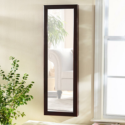 Mahogany Wood Over-the-Door Jewelry Armoire Mirror
