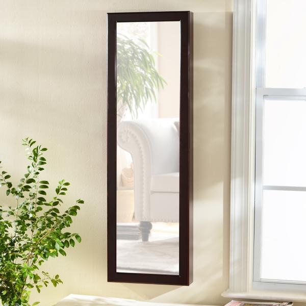 Mahogany Wood Over The Door Jewelry Armoire Mirror