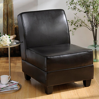 Milan Brown Bonded Leather Accent Chair