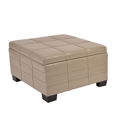 Ash Gray Bonded Leather Storage Ottoman