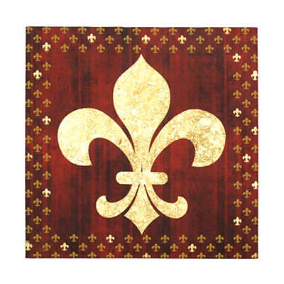 Red Foil Fleur-de-Lis Canvas Art Print