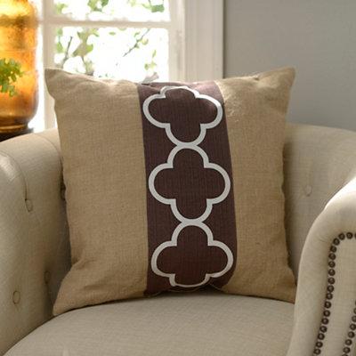 Chocolate Quatrefoil Burlap Pillow