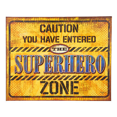 Superhero Zone Canvas Plaque