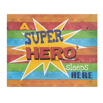 Superhero Sleeps Here Canvas Plaque