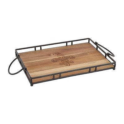 Fleur-de-Lis Rustic Wood and Metal Tray