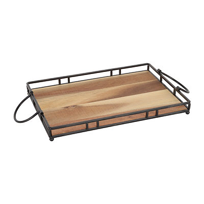 Rustic Wood and Metal Tray