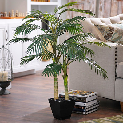 Golden Cane Palm Tree with Wood Planter, 4 ft.