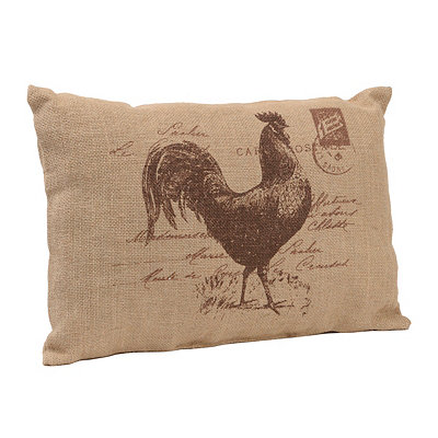 Burlap Rooster Pillow