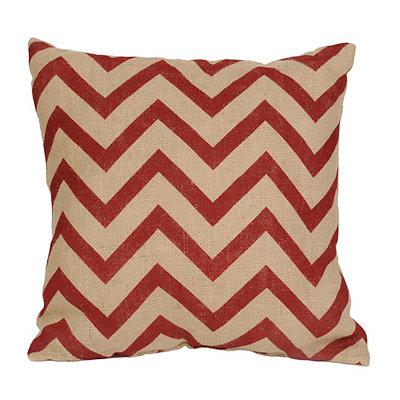 Red Chevron Burlap Pillow