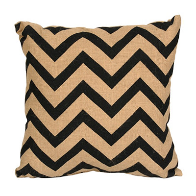 Black Chevron Burlap Pillow