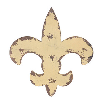 Distressed Yellow Wooden Fleur-de-Lis