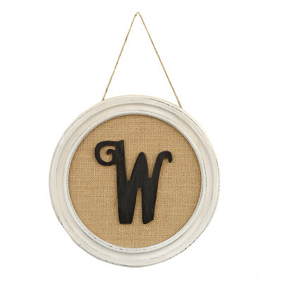 Round Framed Monogram W Plaque