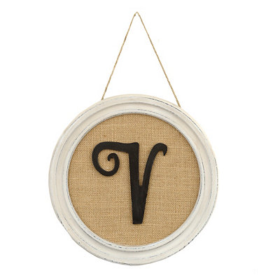 Round Framed Monogram V Plaque